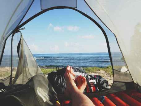 adventure camping feet morning