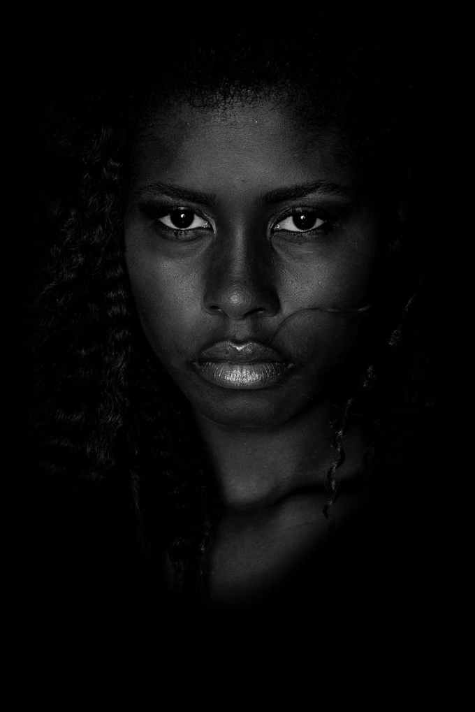 grayscale photography of woman s face
